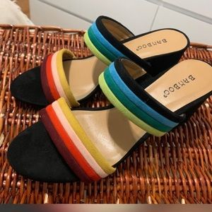 Suede Multi colour sandals with block heel